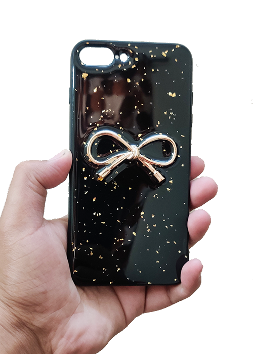 Black Golden Ribbon Silicone Case for Apple iphone 7 Plus