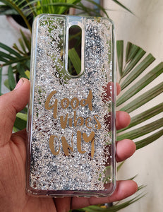 Silver Good Vibes Water Glitter Silicone Case For Oppo f11 pro
