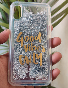 Silver Good Vibes Water Glitter Silicone Case For Iphone Xs max