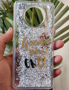 Silver Good Vibes Water Glitter Silicone Case For Oneplus 7T