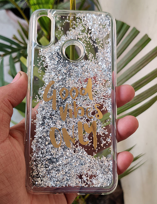 silver Good Vibes Water Glitter SIlicone Case For Redmi Note 7 Pro