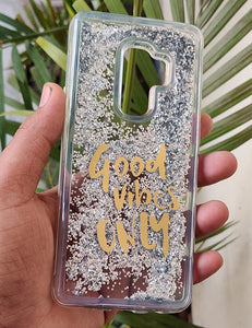 Silver Good Vibes Water Glitter Silicone Case For Samsung s9+