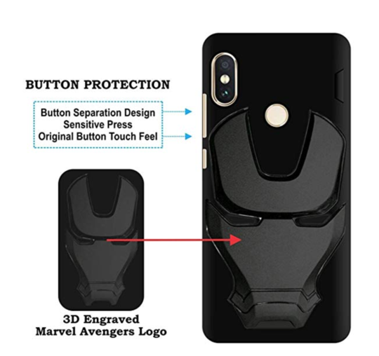 Ironman Engraved logo silicon Case for Redmi 6 pro