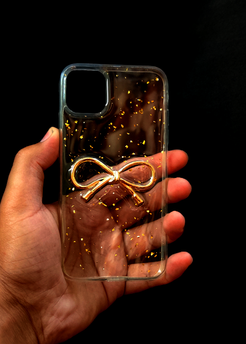 Transparent Golden Ribbon Silicone Case for Iphone 11
