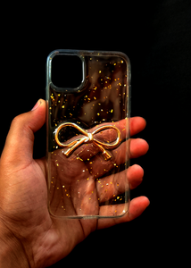 Transparent Golden Ribbon Silicone Case for Iphone 11 Pro