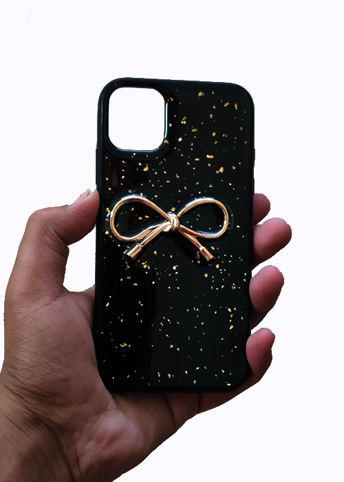Black Golden Ribbon Silicone Case for Iphone 11 Pro Max