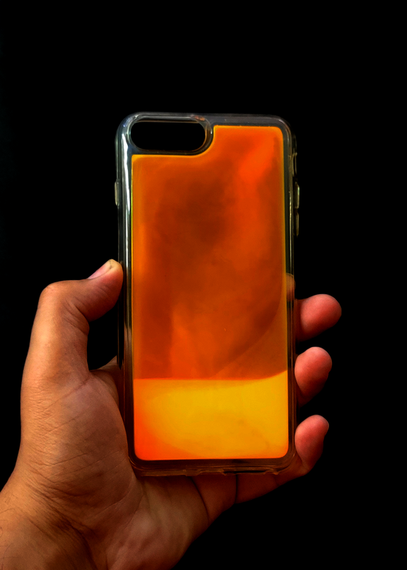 Orange Glow In the Dark Silicone Case For Iphone 8 Plus