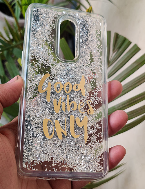 Silver Good Vibes Water Glitter Silicone Case For Oneplus 6