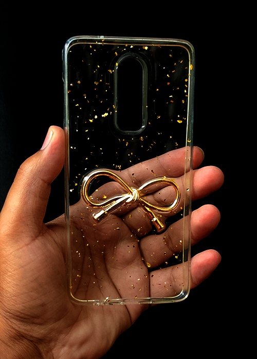 Transparent Golden Ribbon Silicone Case for OnePlus 6