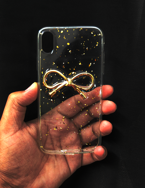 Transparent Golden Ribbon Silicone Case for Apple iphone X/XS