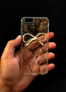 Transparent Golden Ribbon Silicone Case for Apple iphone 7