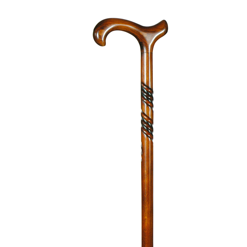 Beech Derby Walking Stick - Spiral Carving