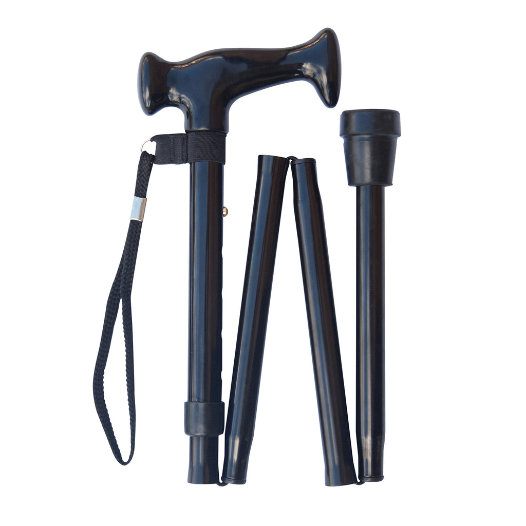 Escort Handle Walking Stick - Black Folding