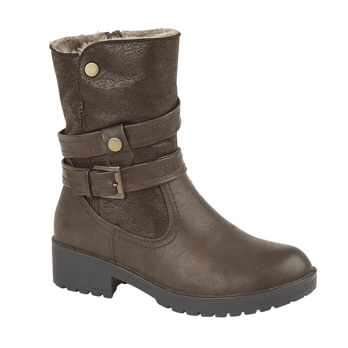 Ladies Alice Fleece Lined Ankle Boots - Dark Brown