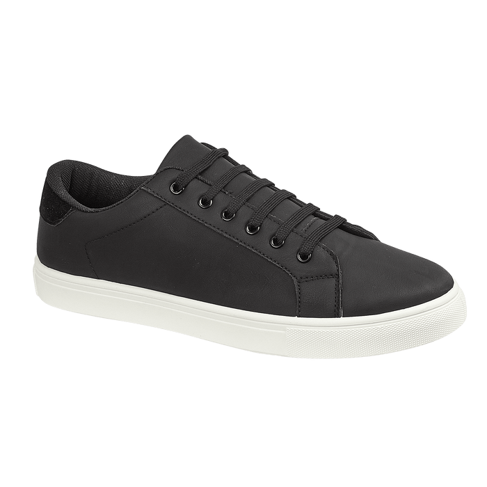 Mens Black Amsterdam Lace Up Trainer