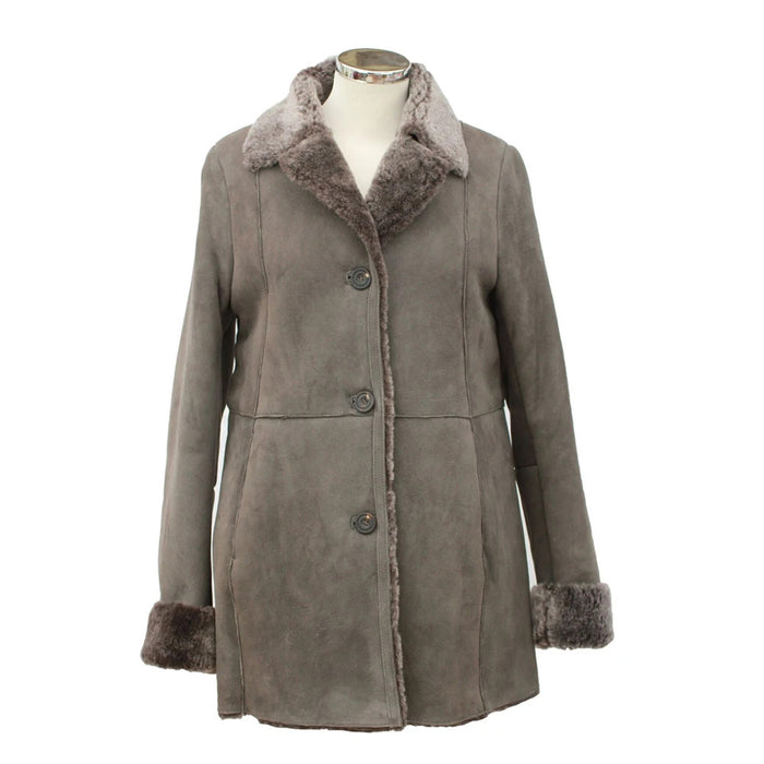 Ladies Annette Suede Leather Sheepskin Coat - with Button Fastenings - Vizon Grey