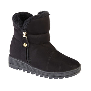Ladies Courchevel Fur Lined Ankle Boot - Black