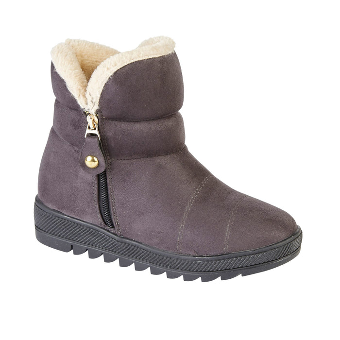 Ladies Courchevel Fur Lined Ankle Boot - Grey