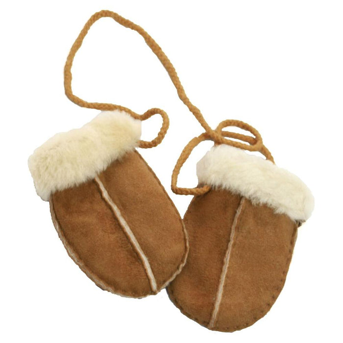Baby's Sheepskin Mitten With Cord - Chestnut