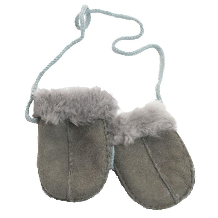 Baby's Sheepskin Mitten With Cord - Grey