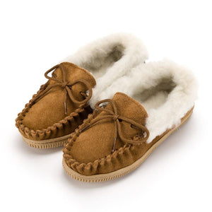 Children's Wool Collar Moccasin - Biscuit