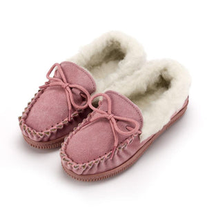 Children's Wool Collar Moccasin - Pink