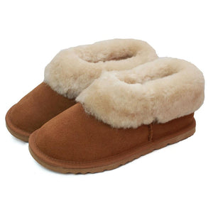 Deluxe Ladies 'Ava' Sheepskin Slipper Boot - Chestnut