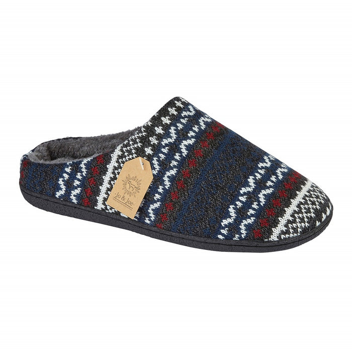 Men's 'Fairisle' Navy Fur Lined Slipper Mule