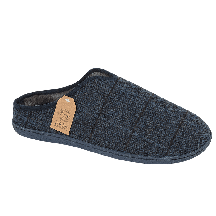 Men's 'Hamish' Navy Checked Slipper Mule