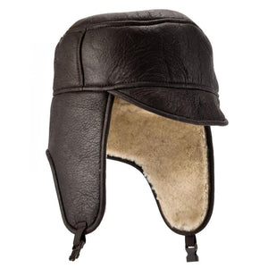 Mens Dark Brown Sheepskin Aviator Hat - Harrison Style