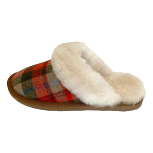 Deluxe Ladies 'Kristine' Sheepskin Slipper Mule - Red Tartan