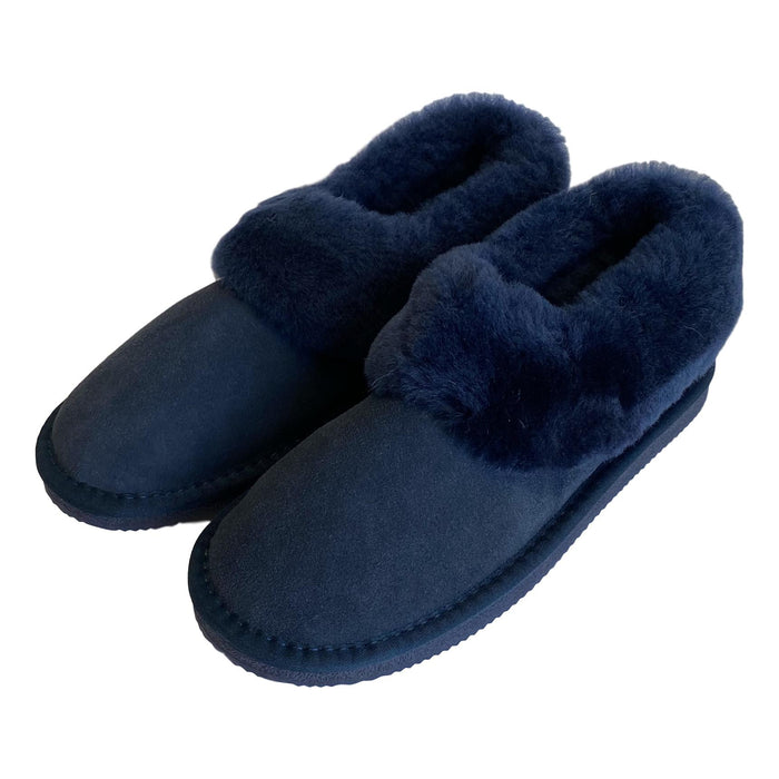 Deluxe Ladies 'Beccy' Sheepskin Slipper Boot - Navy