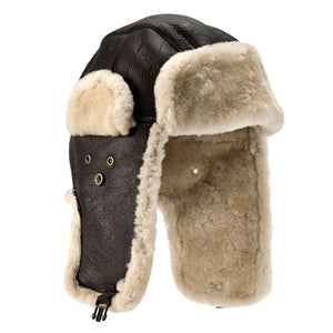 Mens Dark Brown Sheepskin Aviator Hat - Shelford Style