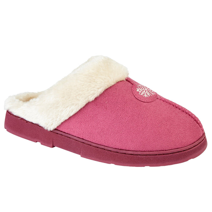 Ladies 'Snowflake' Faux Fur Slipper Mules with Fur Cuff - Pink