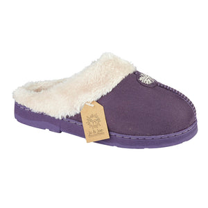 Ladies 'Snowflake' Faux Fur Slipper Mules with Fur Cuff - Purple