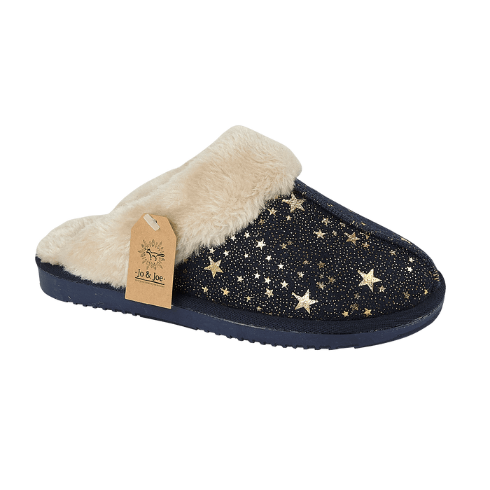 Ladies 'Tiggi' Faux Fur Slipper Mules with Fur Cuff - Navy