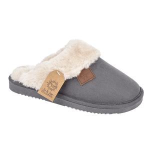 Ladies 'Wicklow' Faux Fur Slipper Mules with Cuff - Charcoal