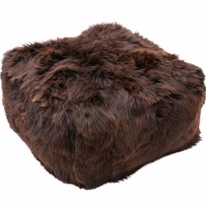 British Sheepskin Cube Pouf - Brown