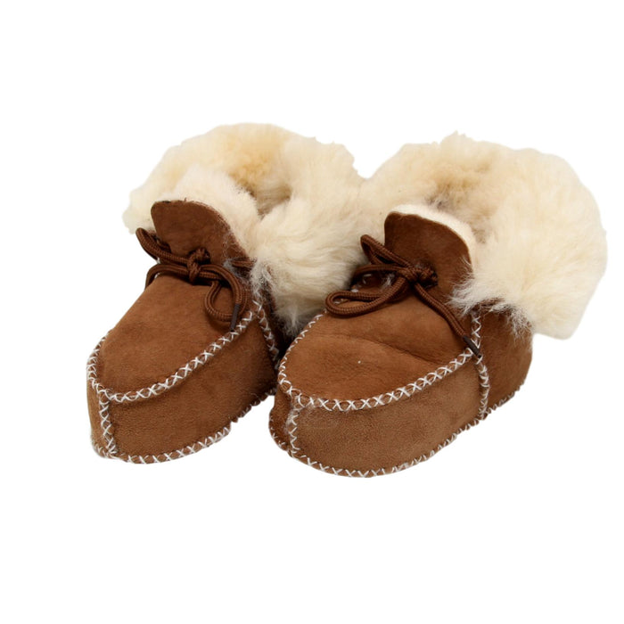 Children's Sheepskin Lace-Up Booties - Chestnut
