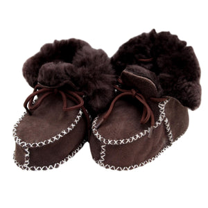 Children's Sheepskin Lace-Up Booties - Chocolate