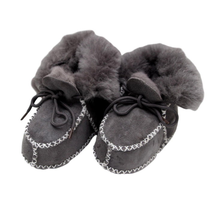 Children's Sheepskin Lace-Up Booties - Grey