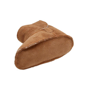 Children's Sheepskin Velcro Tab Bootie - Chestnut