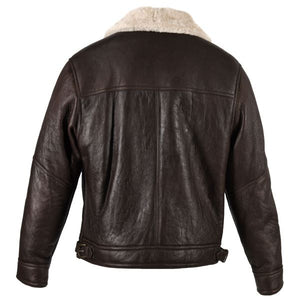 Mens Blenheim Leather Sheepskin Jacket - Chocolate Forest Distressed