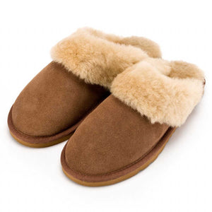 Deluxe Ladies 'Emma' Sheepskin Slipper Mule - Chestnut