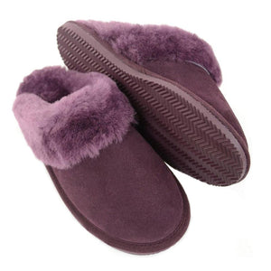 Deluxe Ladies 'Emma' Sheepskin Slipper Mule - Plum