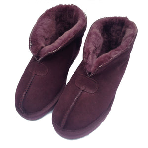 Deluxe Ladies 'Julie' Sheepskin Slipper Boot - Plum