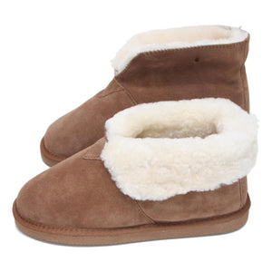 Deluxe Ladies 'Sarah' Sheepskin Slipper Boot - Chestnut