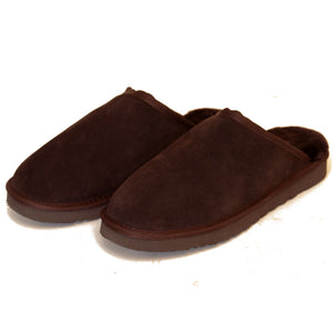 Deluxe Men's 'Cameron' Sheepskin Slipper Mule - Chocolate