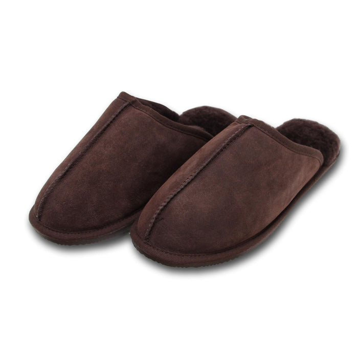 Deluxe Mens 'Ethan' Sheepskin Slipper Mule - Chocolate