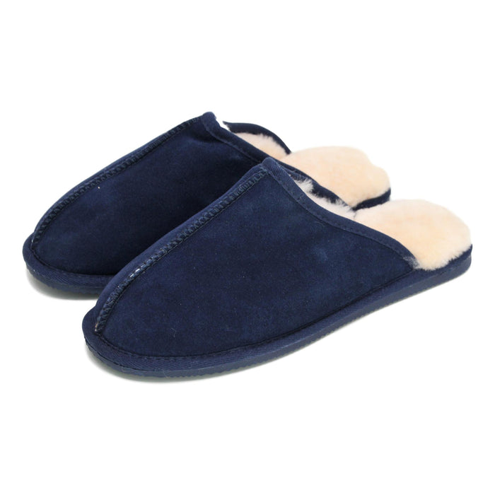 Deluxe Mens 'Ethan' Sheepskin Slipper Mule - Navy